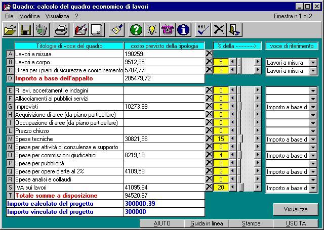 quadro software per l 39 elaborazione di quadri economici di