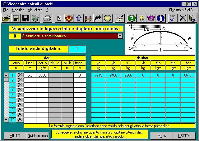 Videocalc il modulo archi software di calcolo di decine di sezioni travi semplici e continue - Finestra a due archi ...