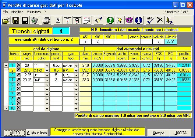 Perdite software per il calcolo di perdite di carico - Calcolo portata da pressione e diametro ...