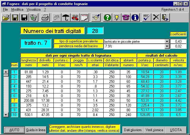 fognes software tecnico per il calcolo di fognature e verifica antisismica dei tubi