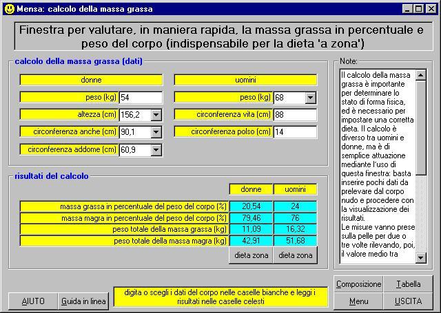 Favorito MENSA: software per la redazione di menu per una dieta equilibrata  RQ96