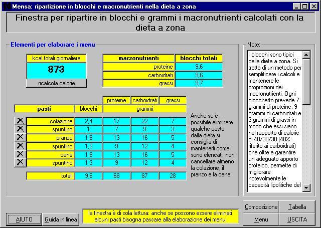 Famoso MENSA: software per la redazione di menu per una dieta equilibrata  QH97